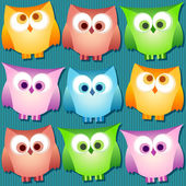 Owl set with stripes — Vector de stock
