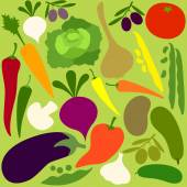 Vegetables group on light green pattern — Vector de stock