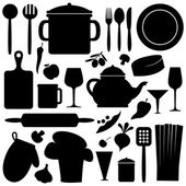 Cook set black and white  pattern — Stock Vector