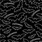 Halloween bats on black seamless pattern — Stock Vector