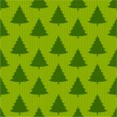 Xmas tree on striped green seamless pattern — Vettoriale Stock