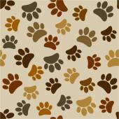 Various brown paws seamless pattern — Stock Vector