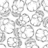 Skull monochromatic line seamless pattern — Stock Vector
