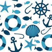 Sea icons seamless pattern — Stock Vector