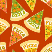 Pizza red seamless background — Stock Vector