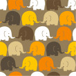 White, yellow, orange, brown elephants — Stock Vector #65803499