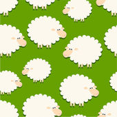 White sheep on green  pattern — Stock Vector