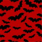 Bat seamless pattern on red — Stock vektor