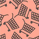 Grey cart on pink seamless pattern — Stockvector