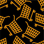 Orange cart on black seamless pattern — Stockvector