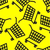 Black carts on yellow seamless pattern — Stockvector