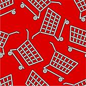 White cart on light red seamless pattern — Stockvector