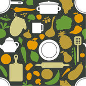 Vegetables & dishes on dark green  pattern — Wektor stockowy