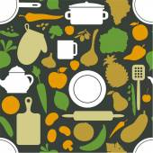 Vegetables & dishes on dark green  pattern — Vettoriale Stock
