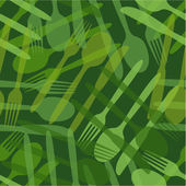 Transparent cutlery green  pattern — Stock Vector