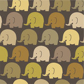 Elephants on brown seamless pattern — Stock Vector