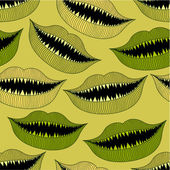 Halloween bloody mouth seamless pattern — Stock Vector