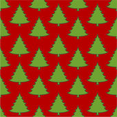 Green xmas trees on red seamless pattern — Stock Vector