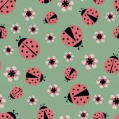 Red ladybugs seamless pattern — Stock Vector