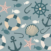 Colorful sea icons seamless pattern — Stock Vector