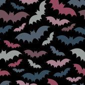 Morcegos coloridos em preto padrão sem emenda — Vetor de Stock