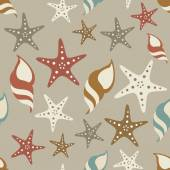 Brown seashells and starfish — Stock Vector