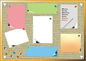 Pinboard labels with pen, schedule — Stock Photo