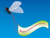 Fly with advertising banner — Stock Vector