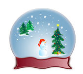 Glass dome snow globe and snowman — Stock Photo