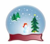 Glass dome snow globe and snowman — 图库照片