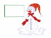 Snowman, postcard — Stock Photo