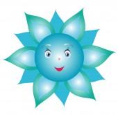 Flower cornflower smiley — Vector de stock