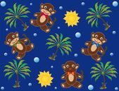 Childish background with monkeys — Stock Vector