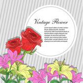 Cartão com flores — Vetor de Stock