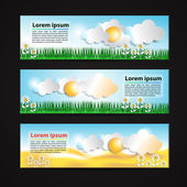 Banners with sun and clouds — Stock Vector