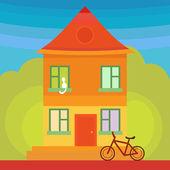 Flat orange house — ストックベクタ