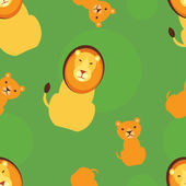 Father lion with a cub seamless pattern — Vector de stock