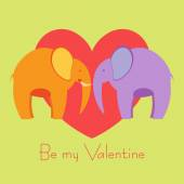 Two elephants in love valentine's day card — Stock Vector