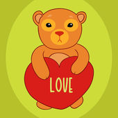 Little bear with a heart valentine's day card — Stock Vector