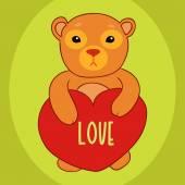 Mały miś z karty Walentynki serca — Wektor stockowy