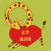 Giraffe illustration with a heart valentine's day card — Vetor de Stock