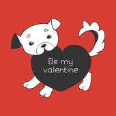 Puppy with a heart valentine's day card — Stockvector