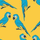 蓝金刚鹦鹉无缝模式 — 图库矢量图片