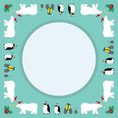 Christmas parade friends mint color background — Stock Vector