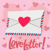 Love Letter with heart background — Vetor de Stock