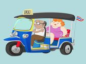TUK-TUK Thailand Taxi with Driver and Passenger — Stock Vector
