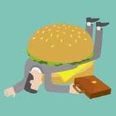 Businessman who get trapped by burger — Stock Vector