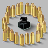 Ink bottle surrounded by bullets — Stock Vector