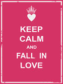 Keep calm and fall in love — Stock Vector