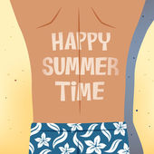 Man sunbathing happy summer time — Stock Vector